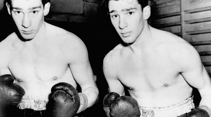 TWINS RONNIE (L) AND REGGIE KRAY DURING THEIR AMATEUR BOXING CAREER DAYS AS YOUTHS.