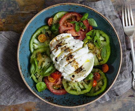 Delicious Summery & Simple Tomato, Basil  & Buffalo Mozzarella Salad