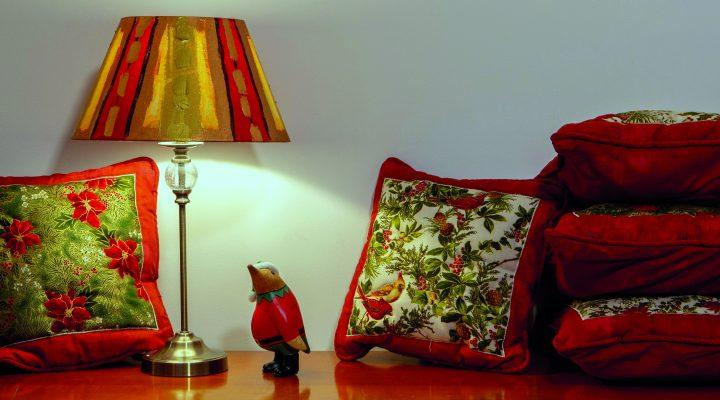 Christmas cushions & small lampshade