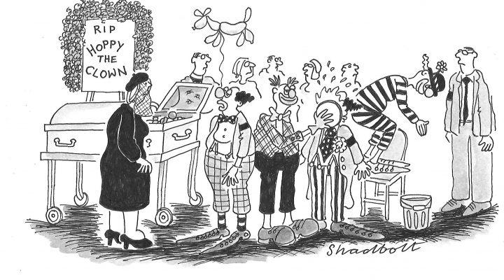 Clown funeral by Paul Shadbolt