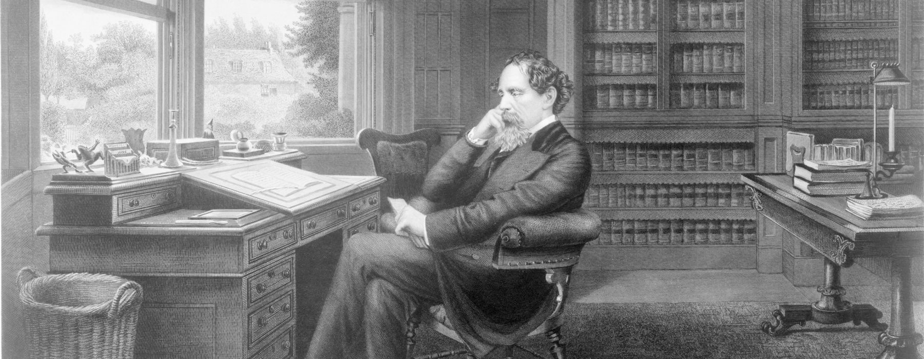Charles Dickens (1812-1870) in his study at Gad's Hill Place